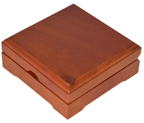 Solid Wood Top Coin Capsule Display Box ( L ) - Teak Brown