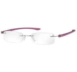 Rimless Magnifying Eye Glasses 2.5x - Purple