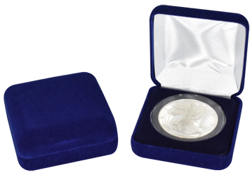 Blue Velour Coin Capsule Box - Holds an extra large size coin capsule