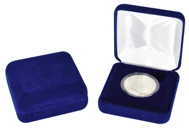 Blue Velour Coin Capsule Box - Holds a medium size coin capsule
