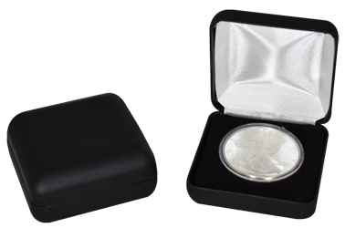 Black Leatherette Coin Capsule Box - Holds a large size coin capsule