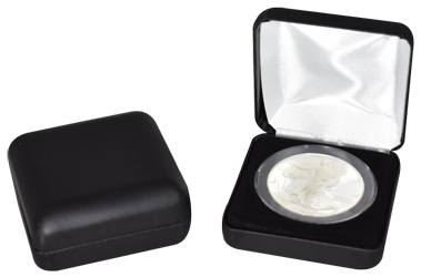 Black Leatherette Coin Capsule Box - Holds an extra large size coin capsule
