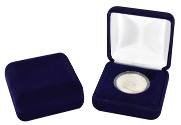 Blue Velvet Coin Capsule Box - Holds a medium size coin capsule