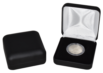 Black Leatherette Coin Capsule Box - Holds a small size coin capsule