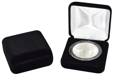 Black Velvet Coin Capsule Box - Holds an extra large size coin capsule