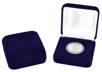 Blue Velvet Coin Capsule Box - Holds a small size coin capsule