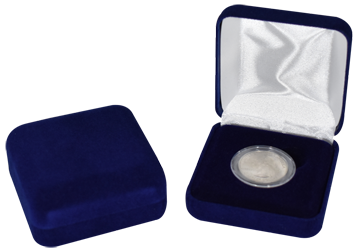Blue Velour Coin Capsule Box - Holds a small size coin capsule
