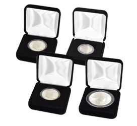 Black Velvet Coin Capsule Box - Holds a small size coin capsule