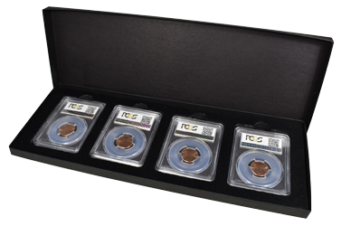 Four Slab Black Chipboard Certified Coin Gift Box