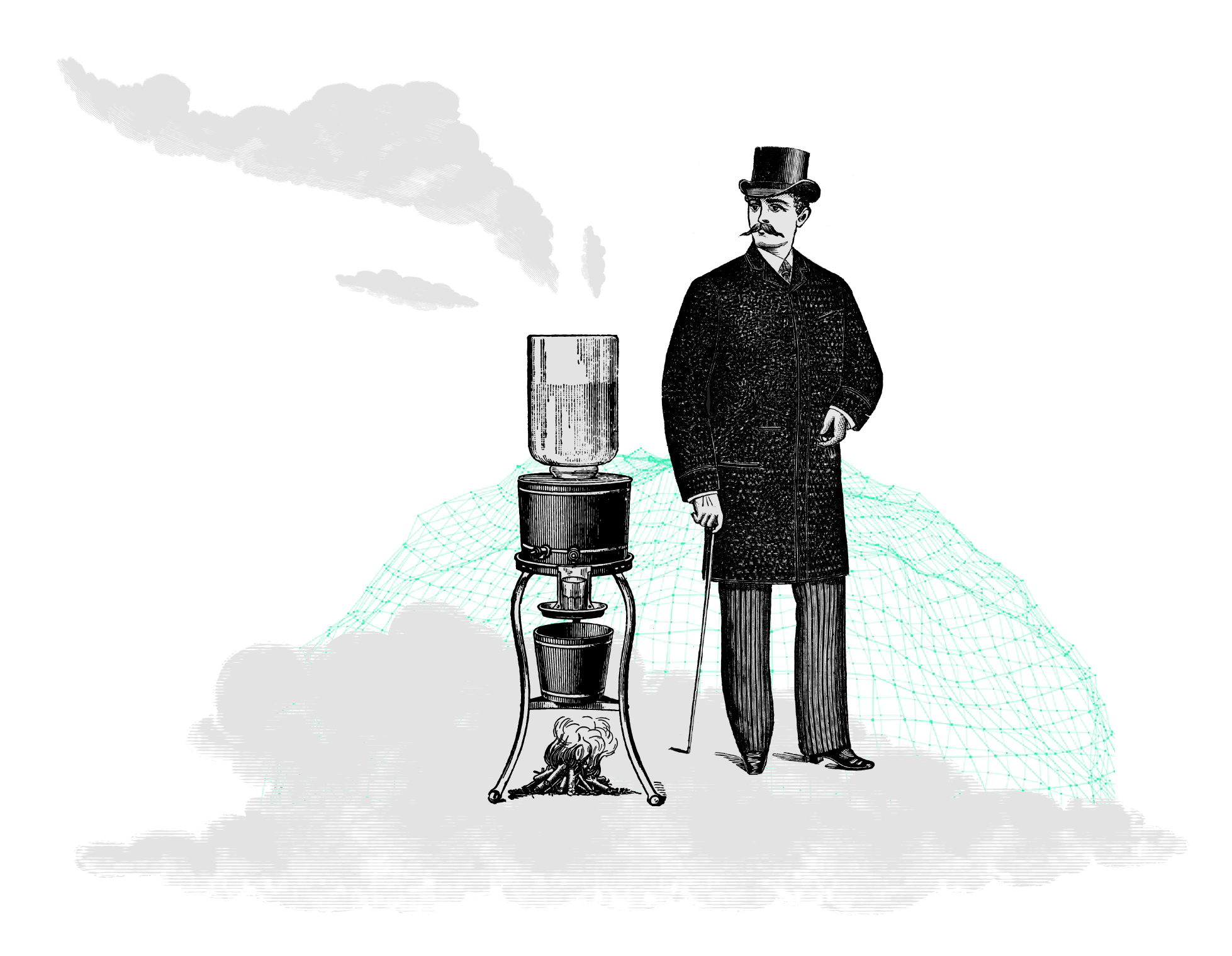 man and machine on a cloud