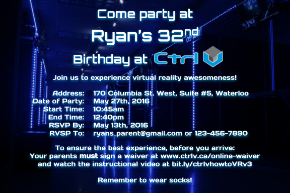 Waterloo Birthday Party Invitation