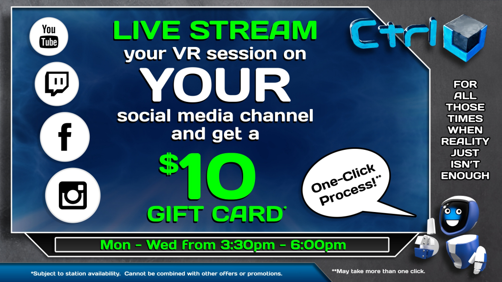 Live Stream Promotion | Ctrl V - Virtual Reality Arcade
