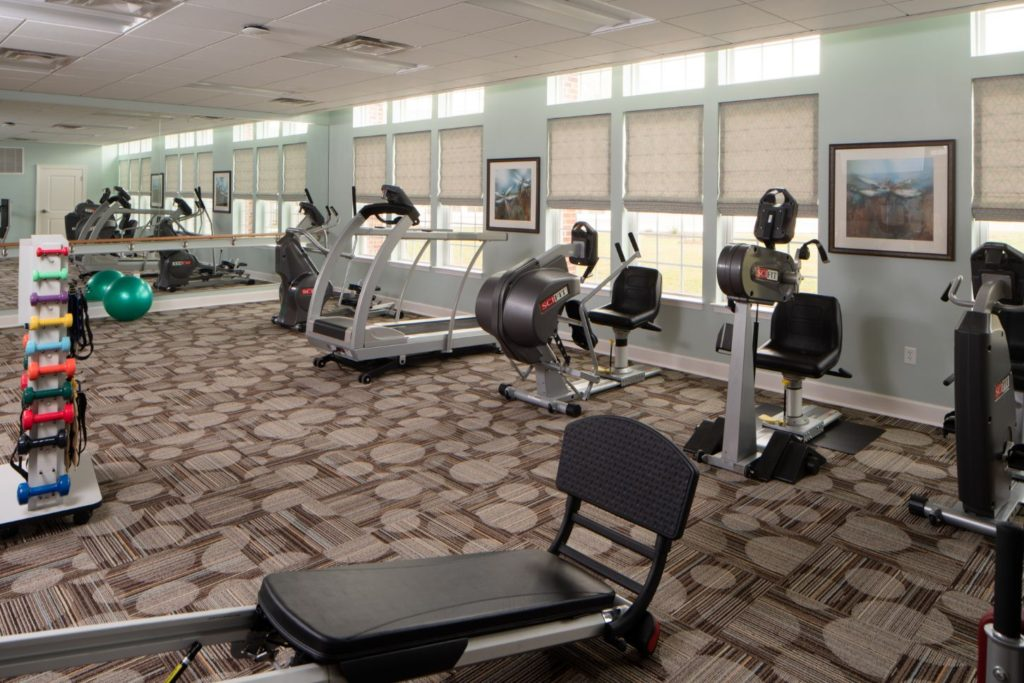 The workout and fitness room at The Culpeper retirement community in Virignia