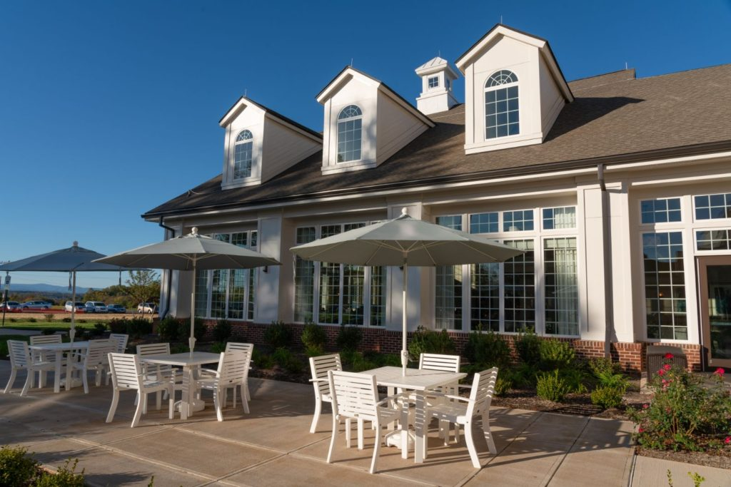 The outdoor seating area in front of The Culpeper senior living community
