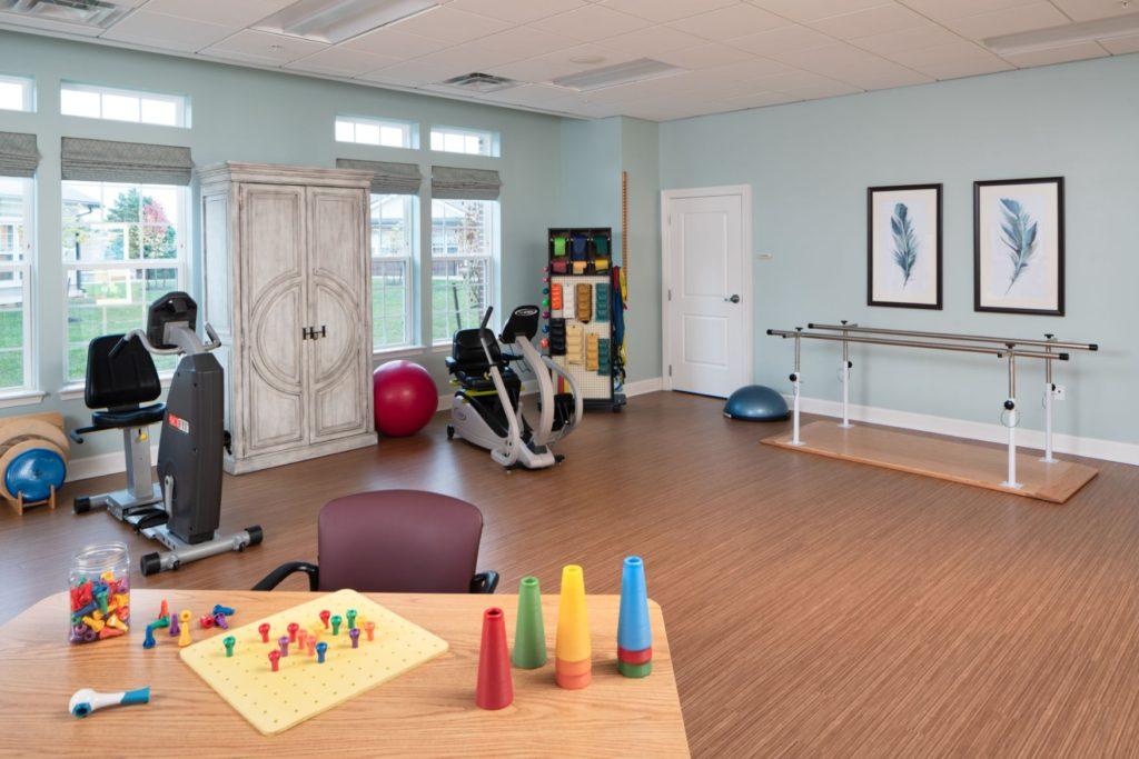 The senior rehabilitation workout room at The Culpeper senior living community in Virginia