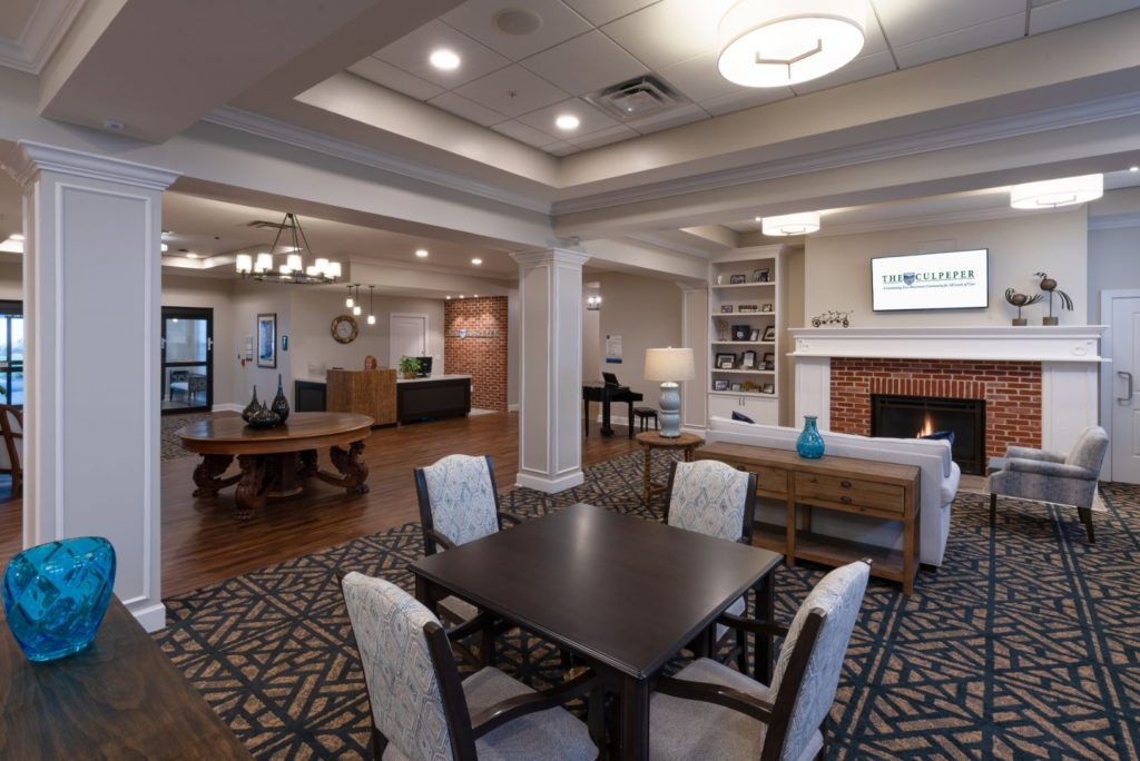 The seating area at the entrance to the senior living community