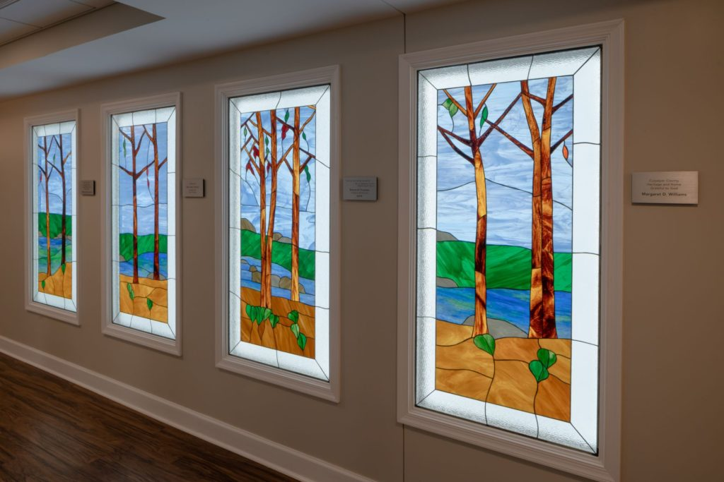 Stain glass artwork at the Culpeper retirement community