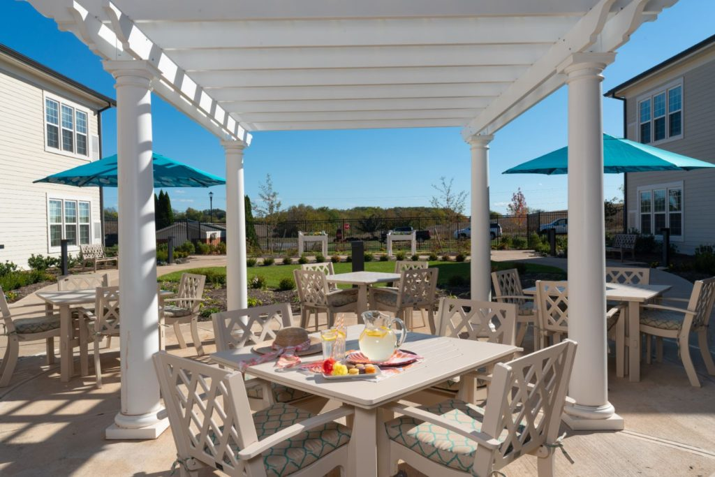 Outdoor seating for dining at The Culpeper senior living