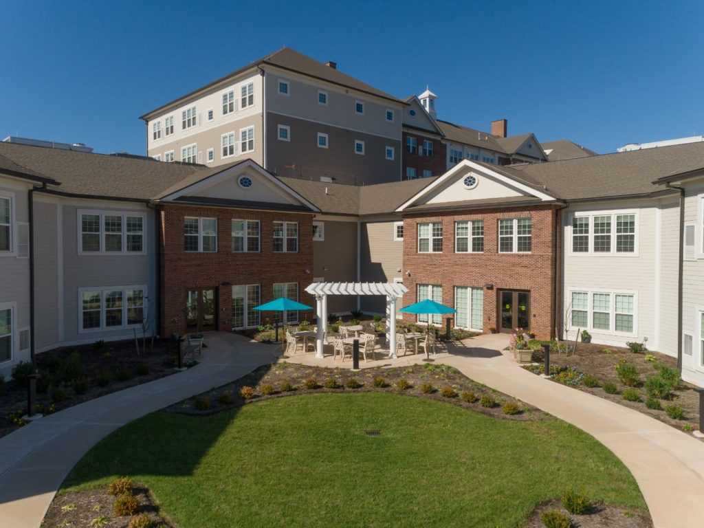The memory care secured courtyard at The Culpeper memory care in Culpeper, Virginia