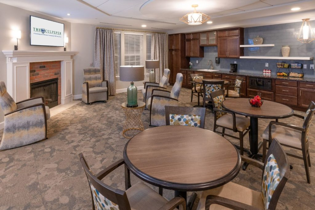 A living room and gathering room at The Culpeper retirement community
