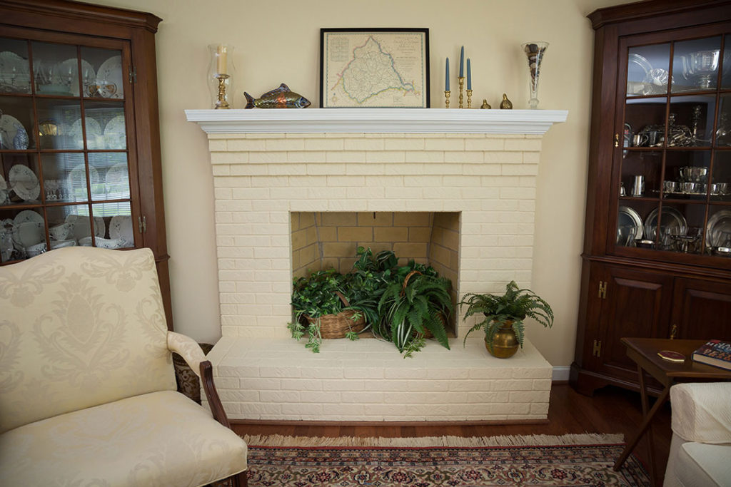 A fireplace in the senior living home in Virginia