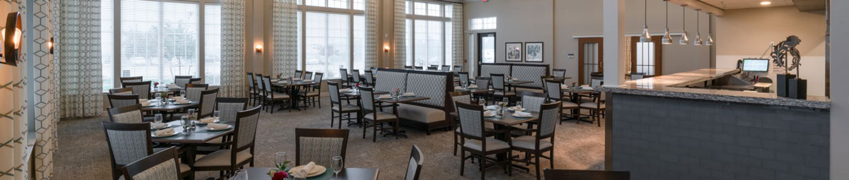 The modern dining room at The Culpeper senior living