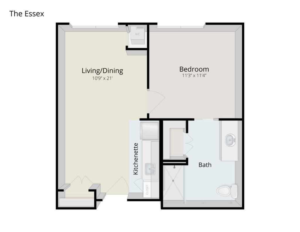 The Essex senior apartment floor plan at The Culpeper senior living community
