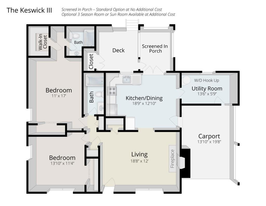 The Keswick III senior living home floor plan