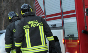 Incendio boschivo a Roccavione, Vigili del Fuoco sul posto