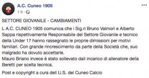 Via tre figure del settore giovanile: le motivazioni 'bizzarre' del Cuneo calcio