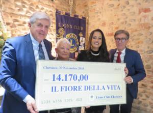 Oltre 14 mila euro dal Lions Club Cherasco a 'Il fiore della vita'