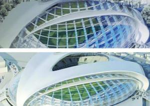 Il rendering del nuovo stadio del Cuneo assomiglia (un po' troppo) al progetto di un impianto rumeno