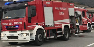 Incendio in uno scantinato, Vigili del Fuoco al lavoro a Busca