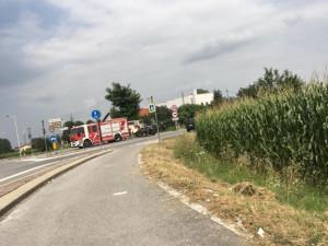 Confreria: impatto tra un camion dei Vigili del Fuoco e un'auto