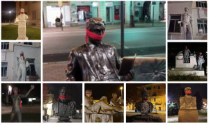 CasaPound imbavaglia le statue di Cuneo con un fazzoletto rosso: 'Contro la censura'