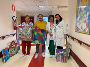 Tele dell'artista Sergio Bruno donate al reparto di Pediatria dell'ospedale di Mondovì