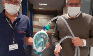 Negli ospedali piemontesi le maschere da snorkeling Decathlon adattate per le terapie respiratorie