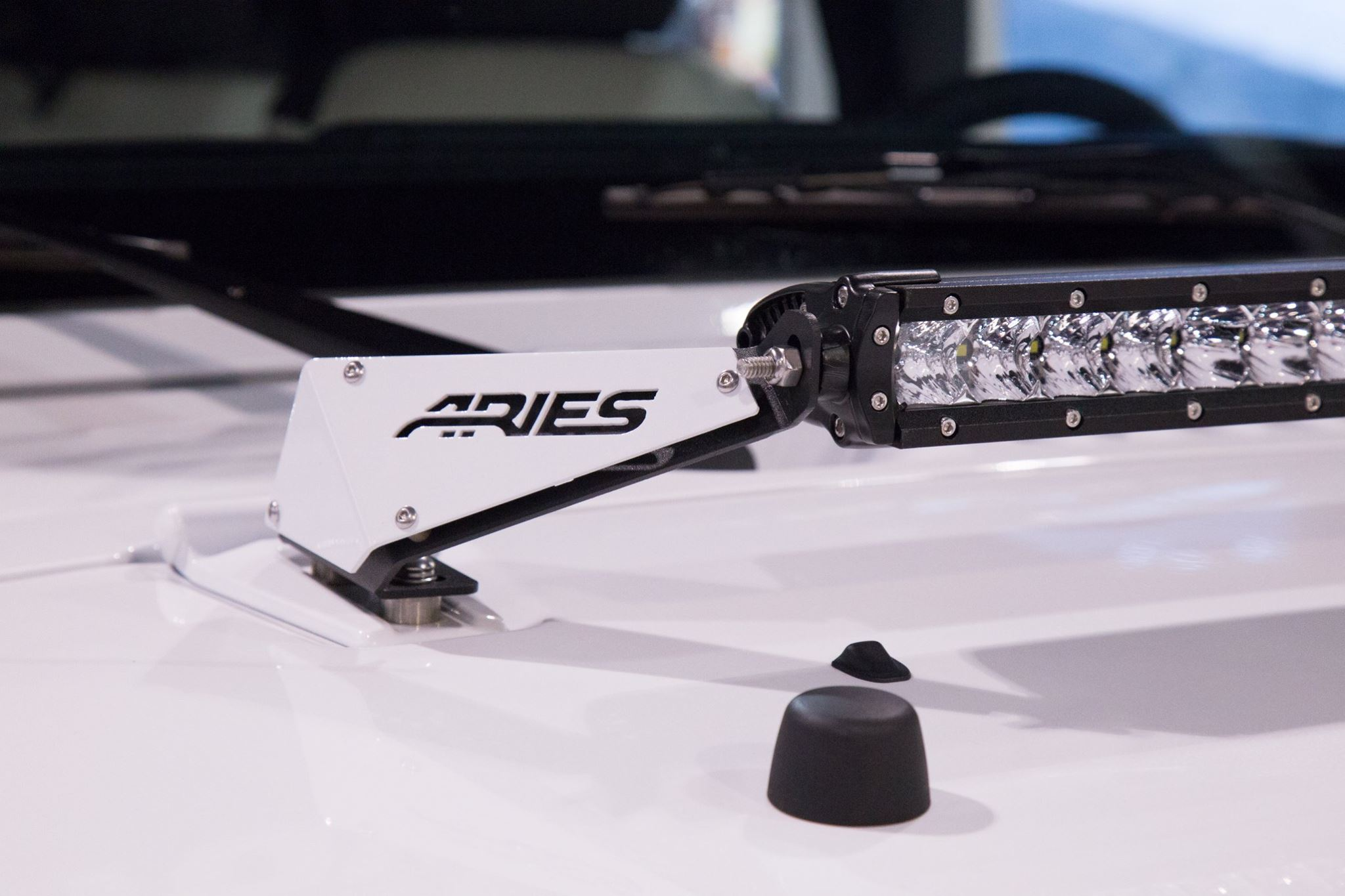 SEMA 2017 TEAM ARIES JEEP WRANGLER LED HOOD LIGHT MOUNT