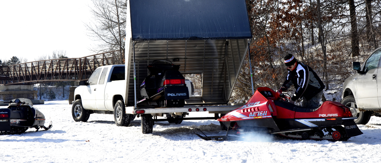 Snowmobile trailer and truck with class 3 hitch from CURT