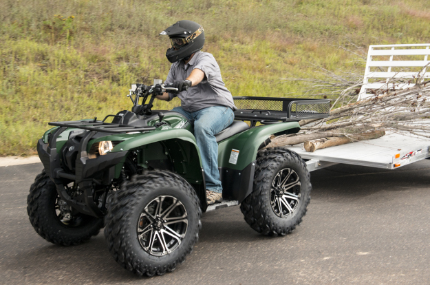 ATV towing trailer with cargo carrier