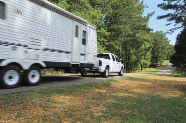 CURT trailer breakaway system - truck towing camper
