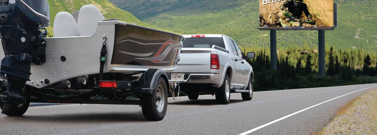 Pickup Truck Pulling Boat Trailer
