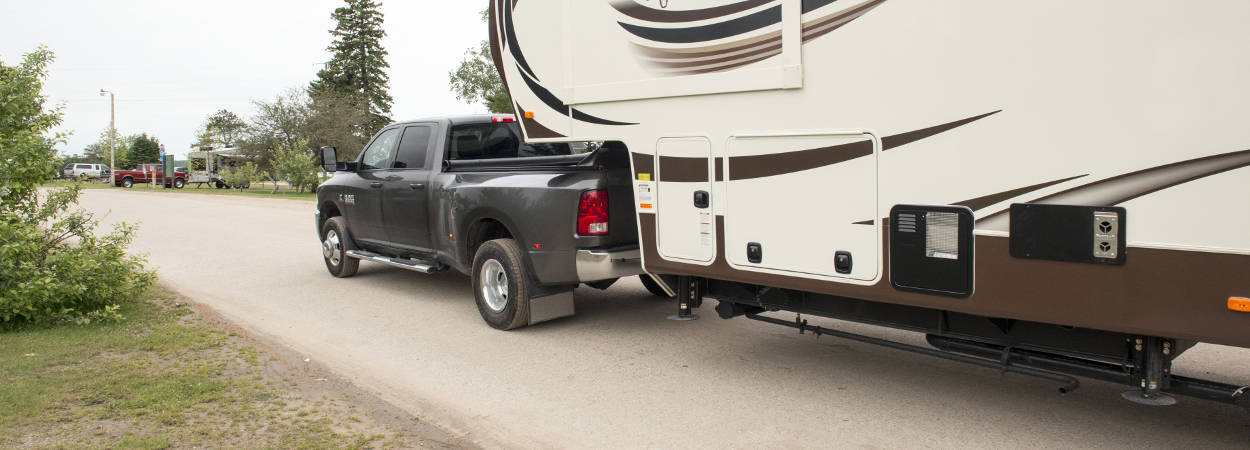 Pickup Truck Towing Travel Trailer