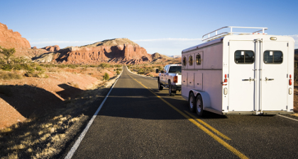 Truck towing horse trailer - desert