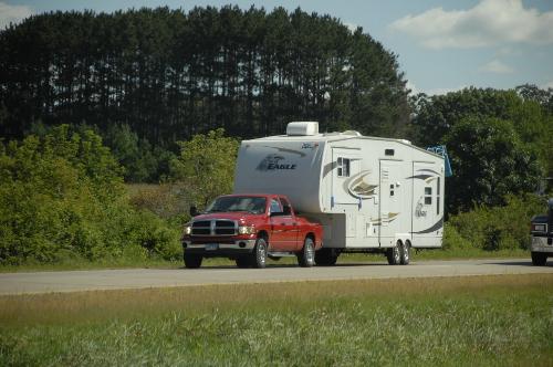 Ram truck towing 5th wheel camper