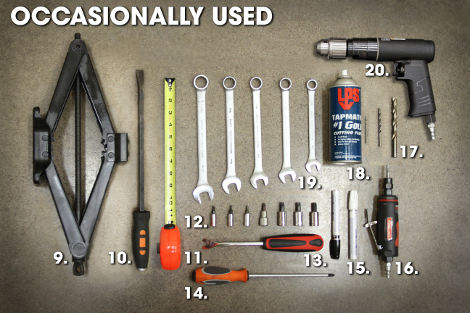 Tools occasionally used in hitch install