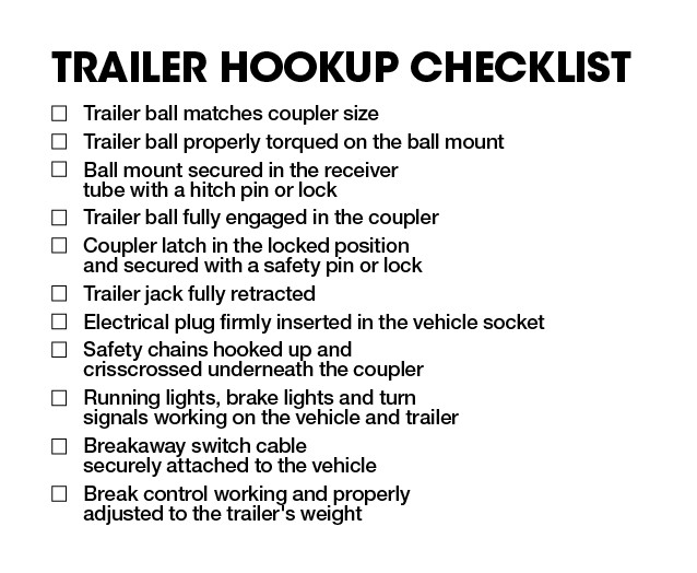 Now that you know how to properly hook up your trailer, it is time to  discuss safety. In the next chapter, we will talk about what practices to  follow while ...