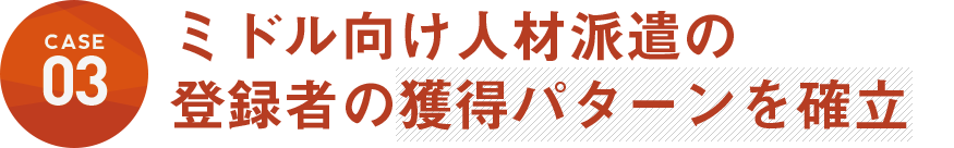 シニア向け人材派遣の登録者の獲得パターンを確立