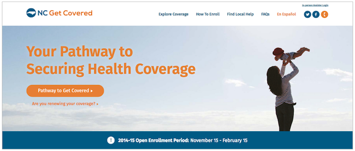 NCGetCovered.org Homepage by Caktus Group