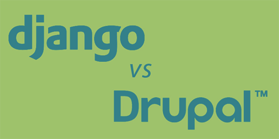 Django and Drupal logos on green background